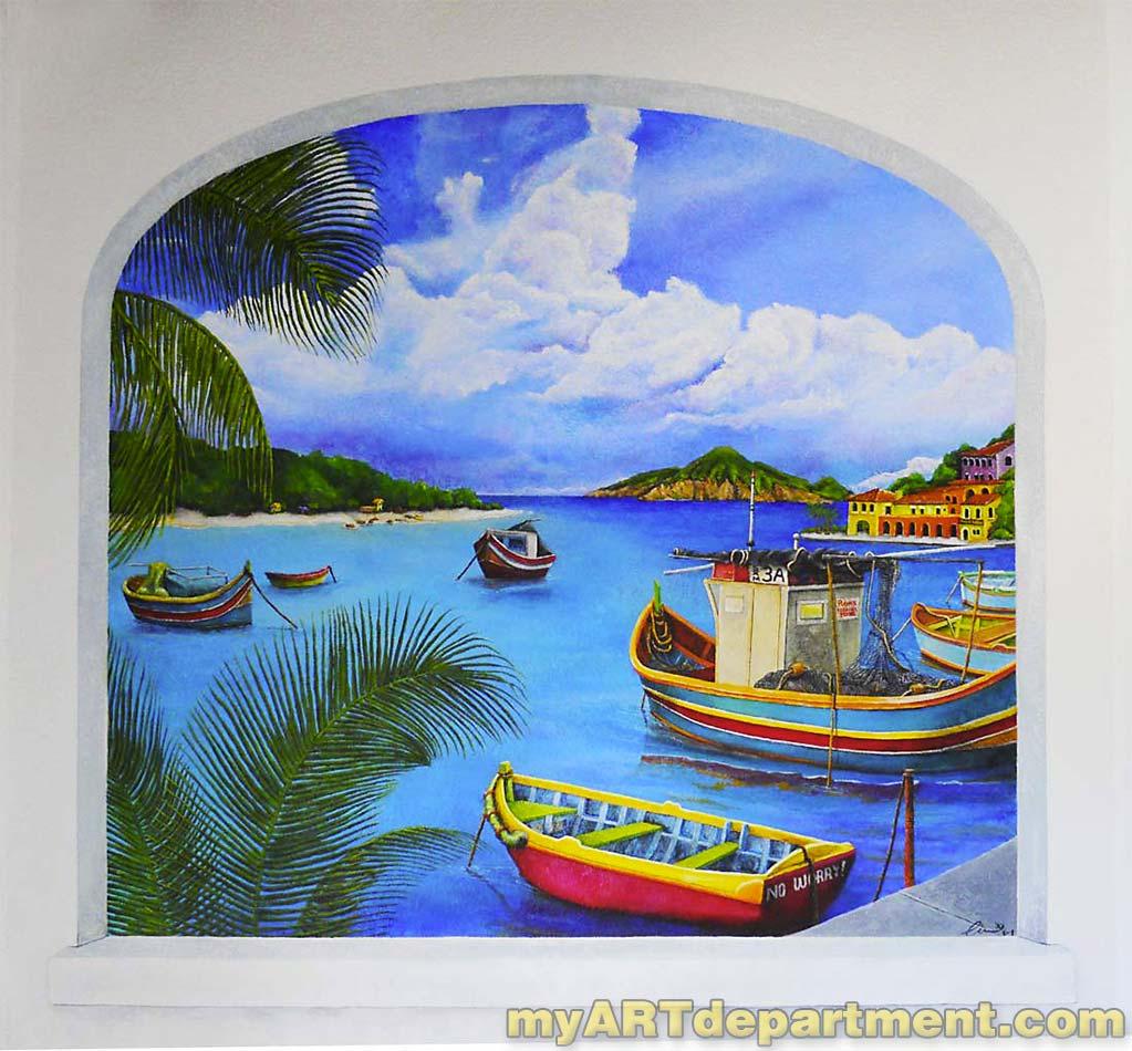 St Maarten Dock Scene Mural