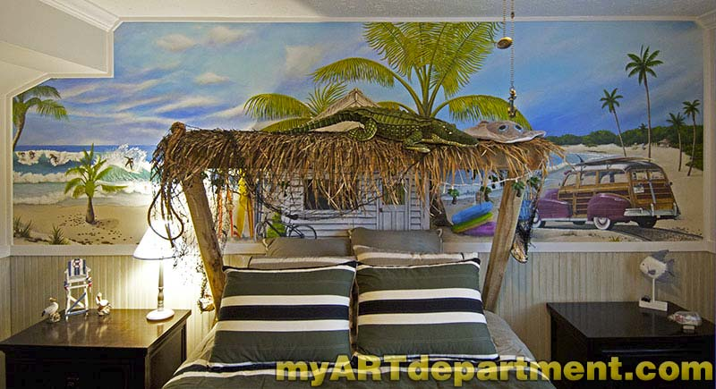 Bedroom beach mural boy 39 s room for Beach mural bedroom