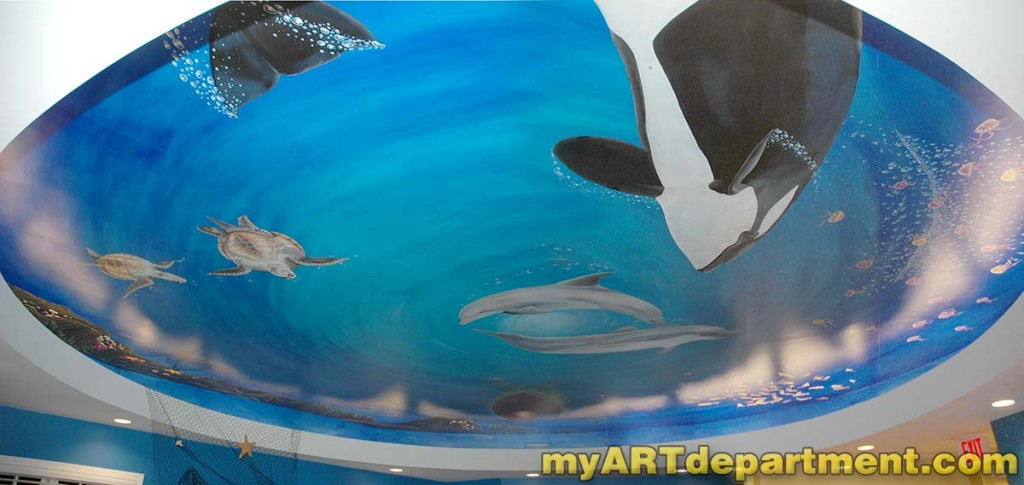 Underwater Mural - Dolphins and Orca