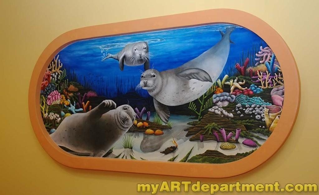 Hand Painted Wall Mural Undersea Scene