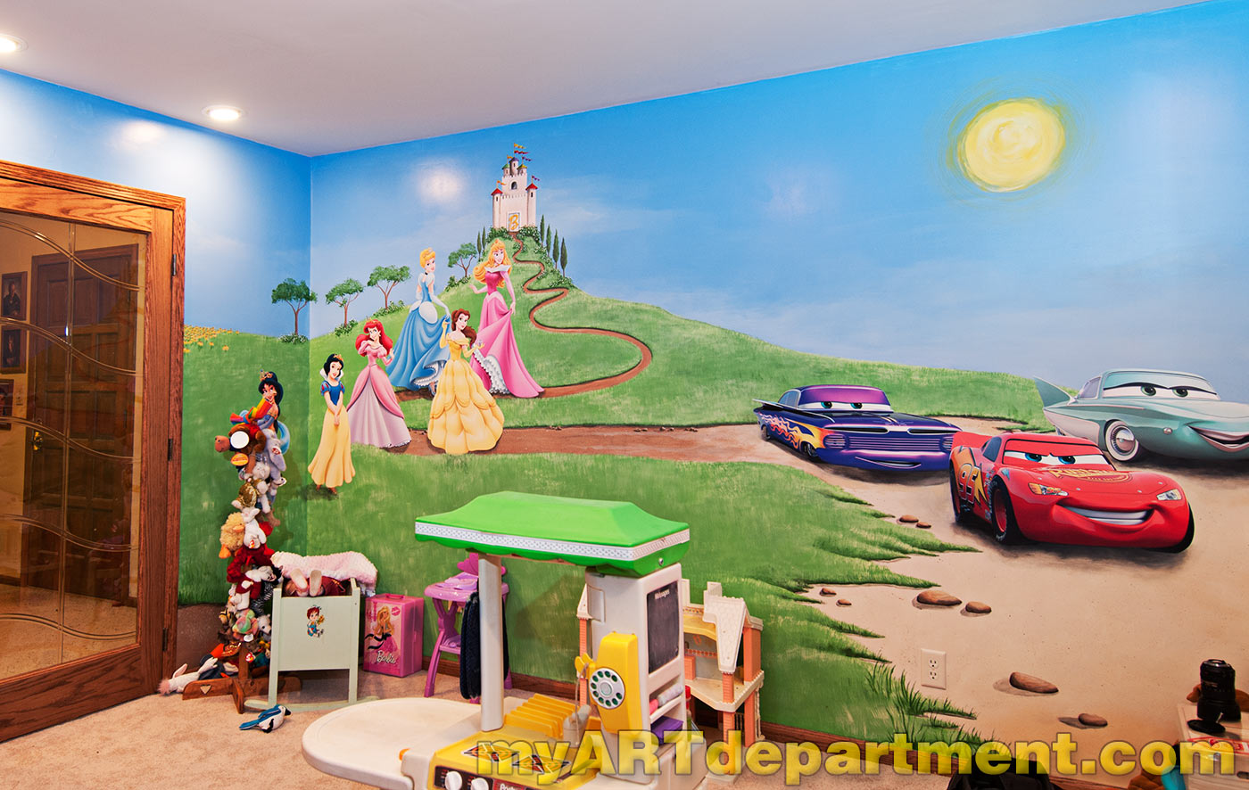 Disney characters mural for kids 39 playroom for Disney mural wallpaper