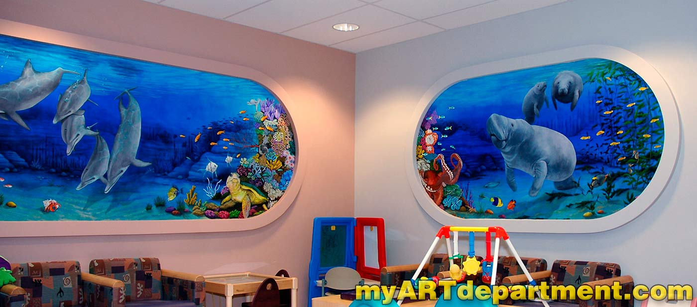 Children 39 s hospital playroom murals summerlin las vegas for Castle mural kids room