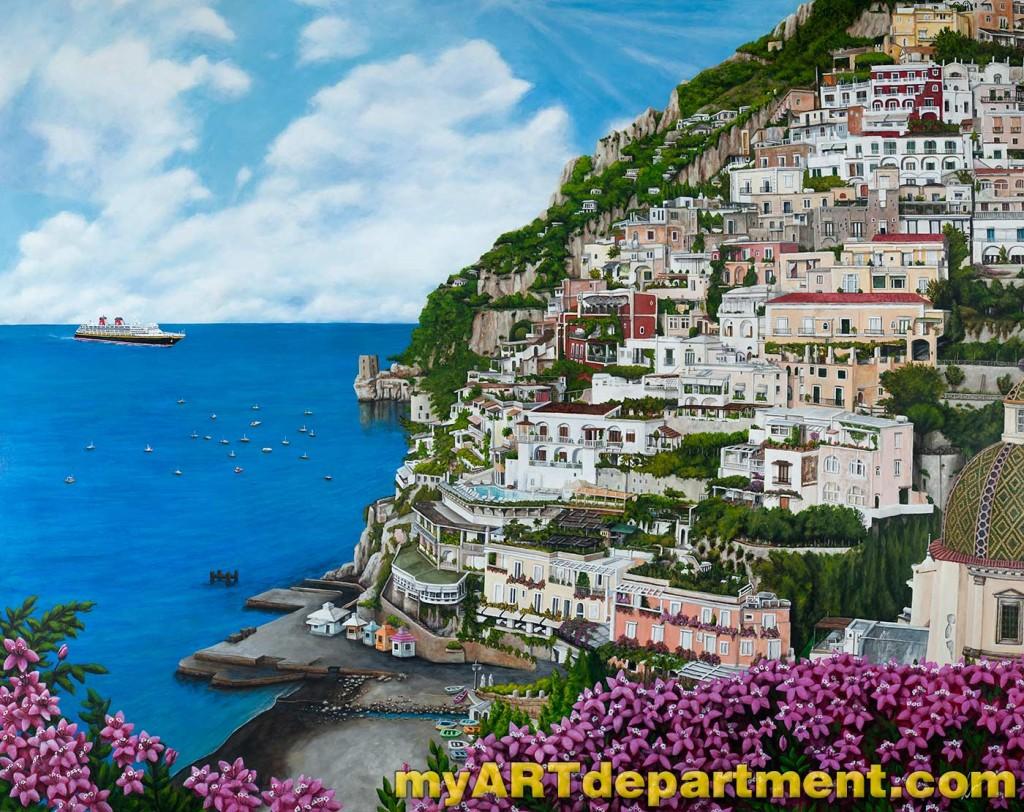 Positano Italy Hand Painted Mural