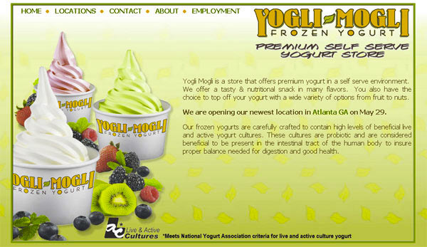 Yogurt shop website design